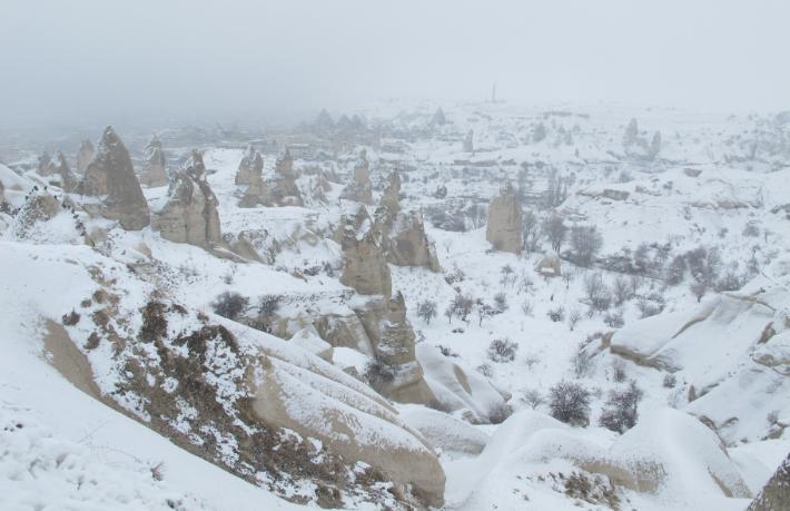 Karlar altındaki Kapadokya'nın farklı renkleriyle tanıştık