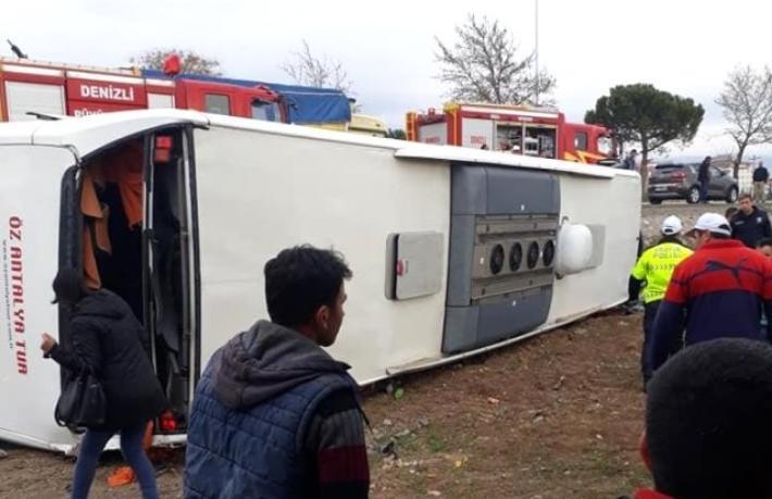 Denizli'de tur otobüsü kazası: 34 yaralı