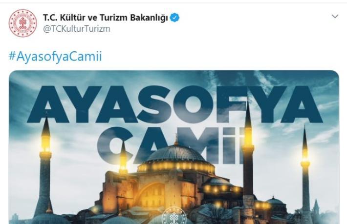 Turizm Bakanlığı'ndan Ayasofya paylaşımı