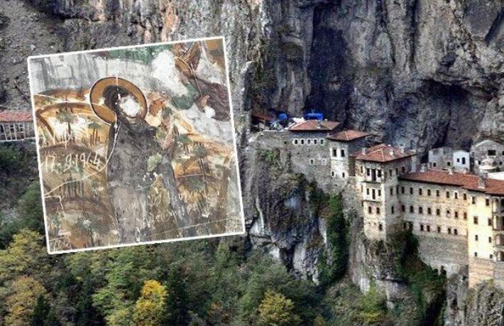 Vandallıkta son nokta... Sümela Manastırı'nda fresklerin suratları parçalandı