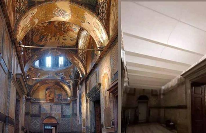 Camiye çevrilen Kariye'de freskler beyaz perdeyle kapatıldı